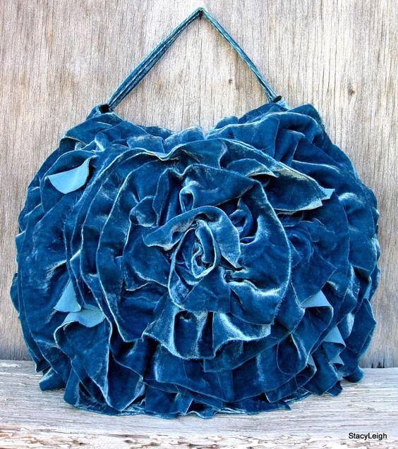 Teal Silk Velvet Deconstructed Ruffle Rosette by stacyleighatelier