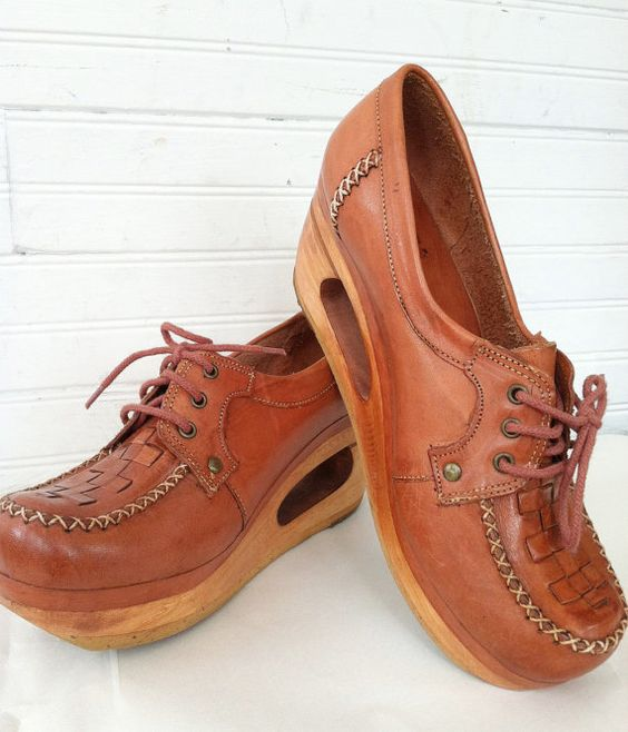 vintage wood & leather cutout platforms