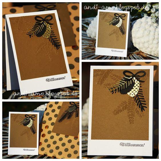 andi-amo: Geschenk-Arrangement Weihnachtskarte mit den Thinlits Tannen und Zapfen auf www.andi-amo.blogspot.de
