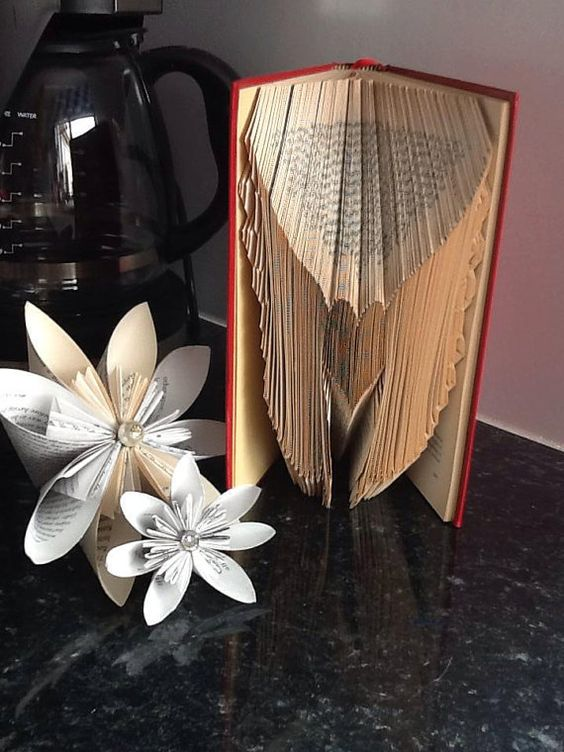Angel Wings with Heart Book Folding Pattern by CraftyHana on Etsy £2.50