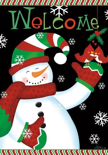 Custom Decor Flag Welcome Snowman Decorative Flag at Garden