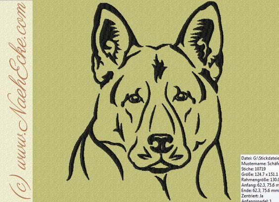Stickmuster Stickdatei Schäferhund 3 von Nähecke auf DaWanda.com