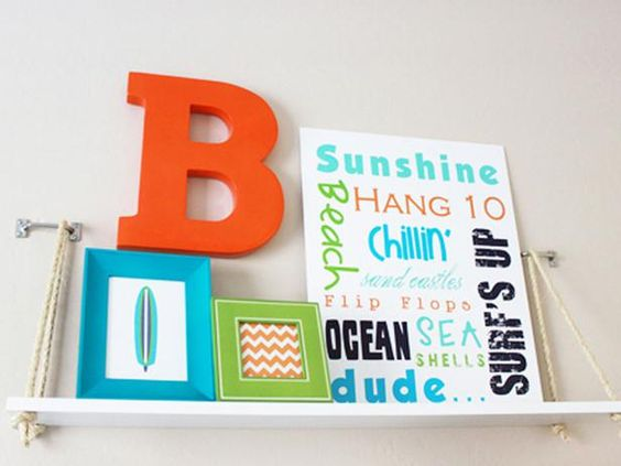 Being creative and resourceful can really get you a lot of bang for your buck if you are willing to put in the work. Rebecca from Fresh Chick Design created this cute shelf that was inspired by a more expensive version she spotted in a retail store for her son's beach themed room. It's an easy DIY project and can act as a mini storage or display piece for the room. Photo courtesy of ProjectNursery.com