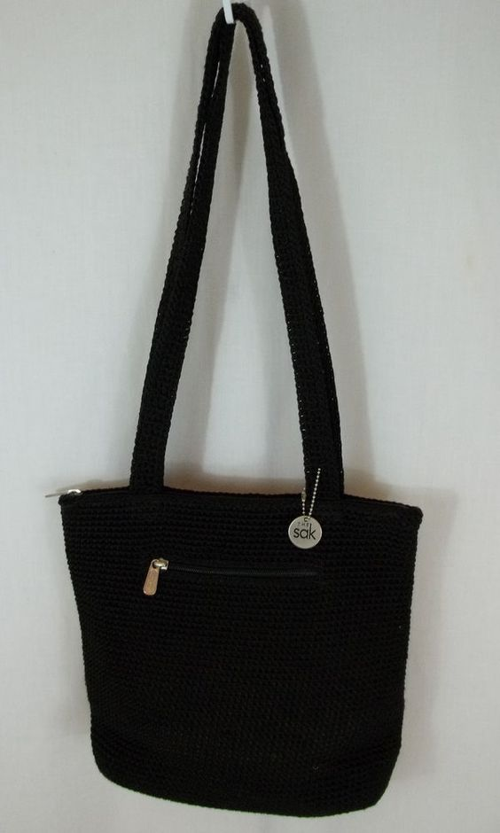 Le Sak Crochet Bags : THE SAK Black Nylon CROCHET Purse Handbag Tote Shoulder Bag Purse ...