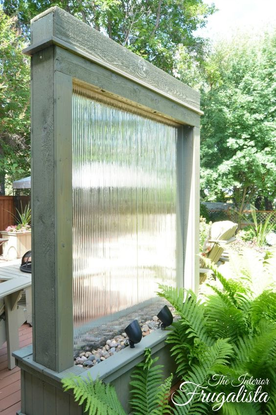 Diy Water Wall Backlit With Solar Spotlights The Interior Frugalista