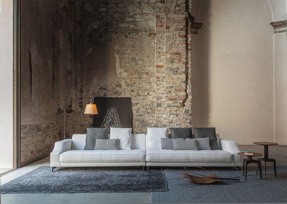 Rustikale wand wohnzimmer sofa set moderne einrichtung for Moderne wohnzimmerwand
