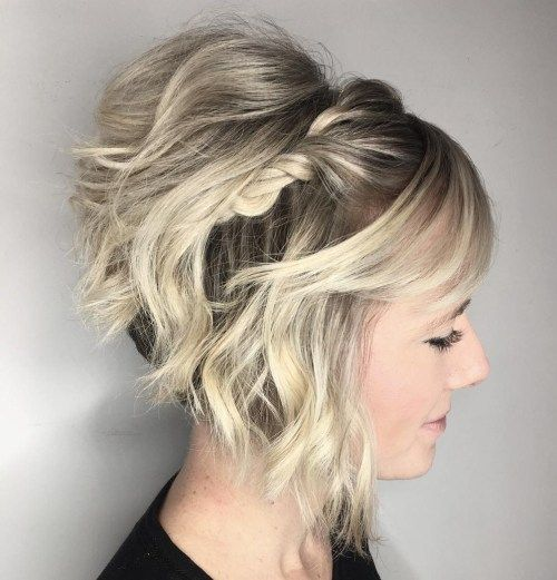 60 Creative Updo Ideas For Short Hair Short Stacked Bob Hairstyles Short Wedding Hair Short Bob Updo