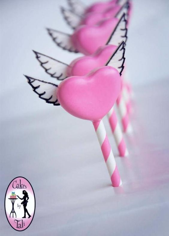 Heart with wings cake pops