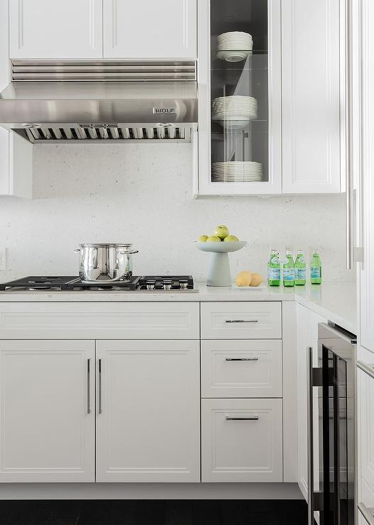 White Kitchen Design Boasts White Quartz Slab Backsplash A Wolf