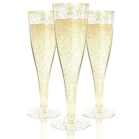 Plastic Champagne Flutes Disposable 100 Pack Gold Glitter Plastic Champagne Glas Disposable Champagne Flutes Plastic Champagne Glasses Plastic Wine Glasses