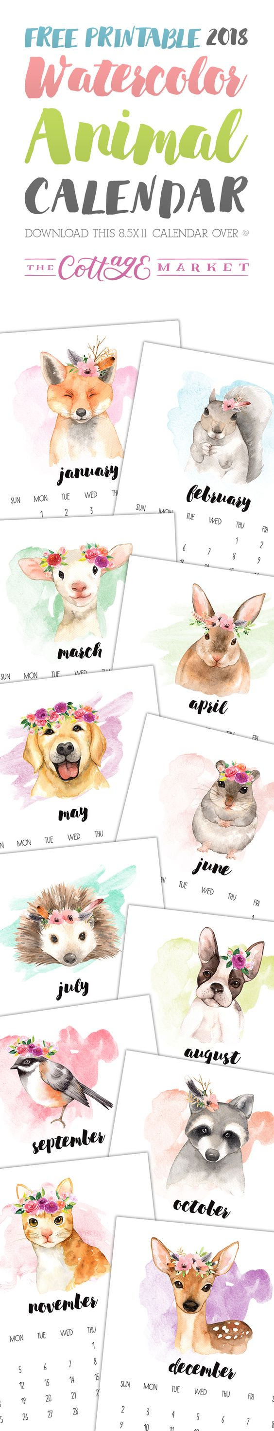 Free Printable 2018 Watercolor Animal Calendar