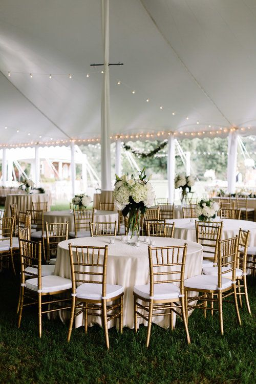 Tented Wedding Reception With Gold Chiavari Chairs Floral Design By Charleston Street E Gold Chiavari Chairs Chivari Chairs Wedding Chiavari Chairs Wedding