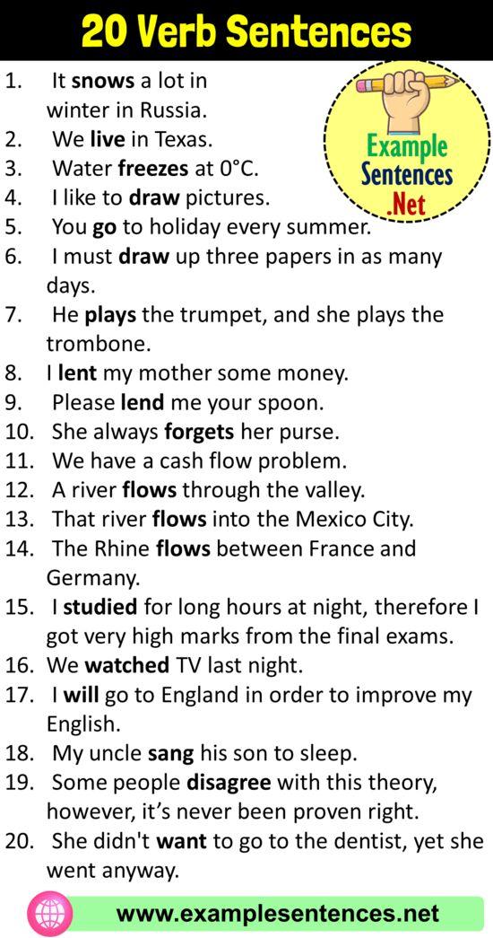20 Verb Sentences Verb Examples In Sentences Example Sentences Verb Examples In Sentences Verb Examples Sentence Examples