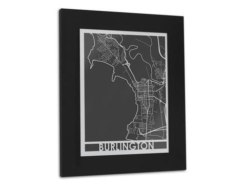 Burlington Vt Stainless Steel Map 11 X 14 Map Art Metal