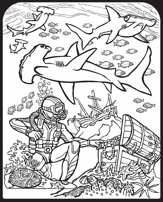 Sharks! Stained Glass Coloring Book Dover Publications ...