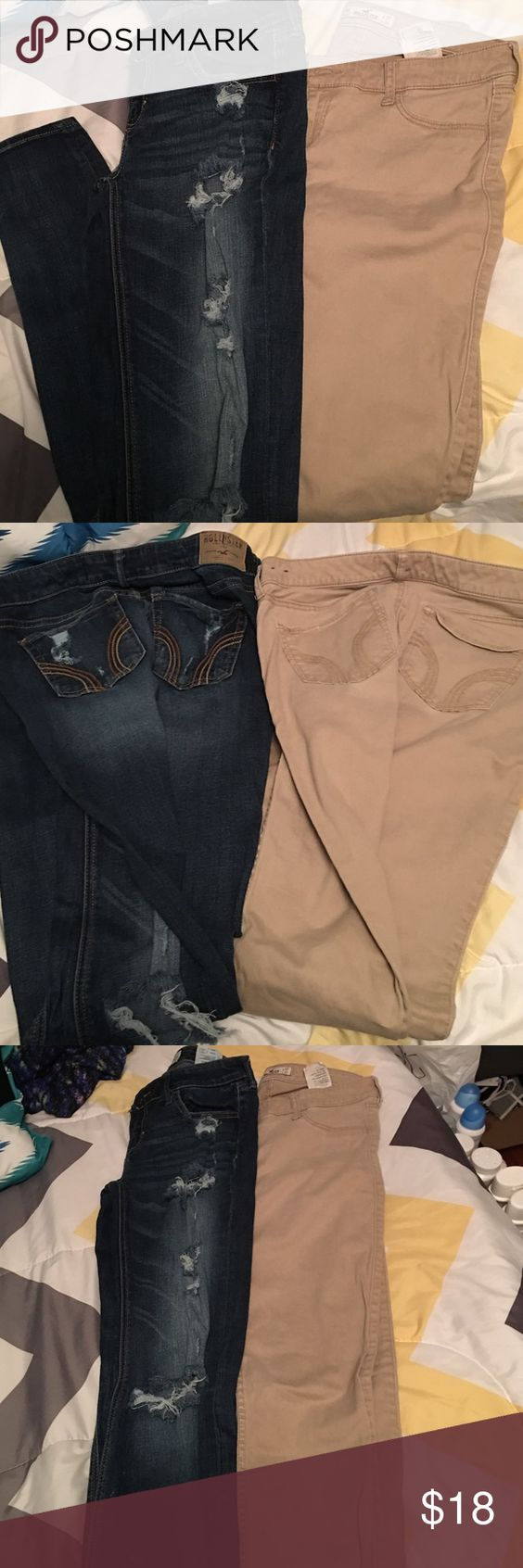 Hollister skinny jeans. Size 5 Too small . Worn a couple times . Condition 8/9. Both pair of jeans for $18. Paid $50 for both Hollister Jeans Skinny