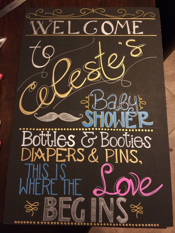 Baby Shower Chalkboard Sign - Welcome To Baby Shower