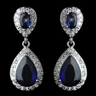 Blue Crystal Bridal Ohrringe atemberaubende blau Ohrringe Braut mit birnenförmig Kristallen umgeben durch einen Ring aus kleineren Kristallen