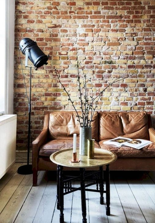 55 Extraordinary Home Office Design Ideas With Brick Walls Brick Wall Living Room Brick Wall Interior Living Room Brick Interior Wall