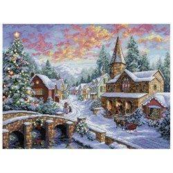 Gold Collection Holiday Village Counted Cross Stitch Kit-16 X12 Dove Grey (00088677087838) DIMENSIONS-The Gold Collection: Counted Cross Stitch. The Gold Collection Kits are wonderfully detailed with full and half cross stitches. Kit includes: 16 count dove grey Aida, cotton thread, thread sorter, sequins, needle, and easy instructions. Mats and frames are not included unless otherwise stated. Finished size: 12H x 16W inches. Design: Holiday Village. Designer: Nicky Boehme. Imported.