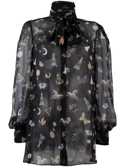 ALEXANDER MCQUEEN 'Obsession' print blouse. #alexandermcqueen #cloth #blouse