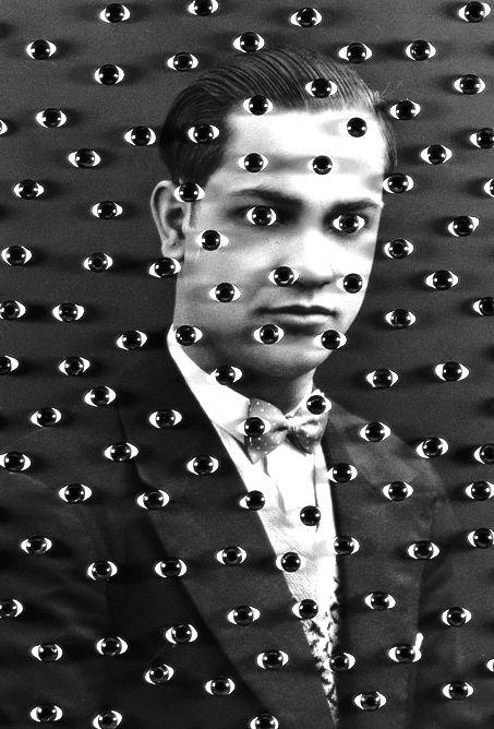 Man Surrounded by Surrealist Eyes. Pop Art, surrealist art