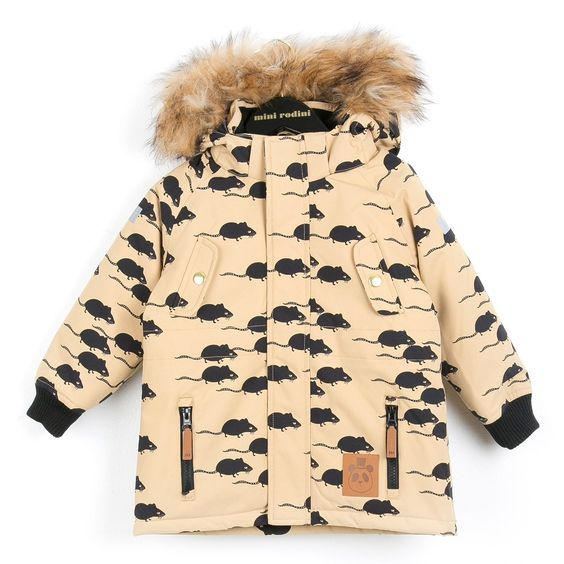 MINI RODINI Beige parka with mouse print and fur hood