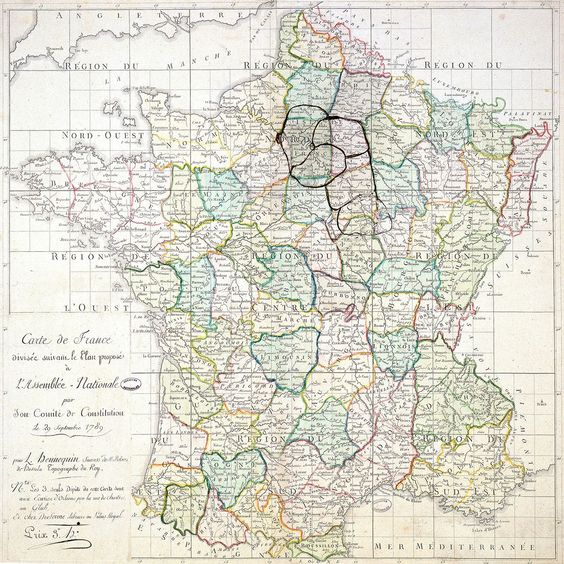 Carte de France divisée suivant le plan proposé à l'Assemblée nationale… le 29 septembre 1789.