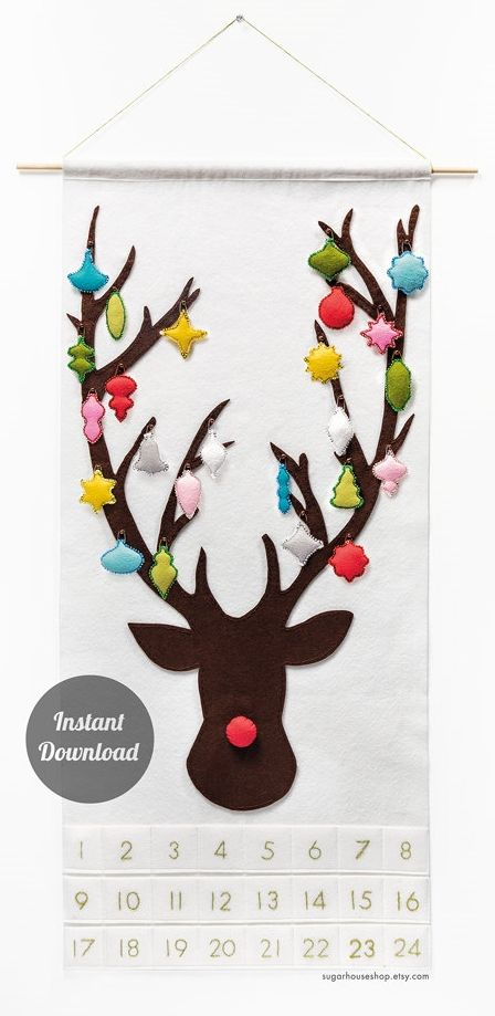 Instructions for this DIY Reindeer Advent Calendar. Cute!                                                                                                                                                                                 More: