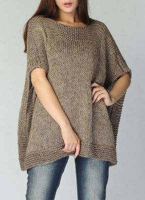 Cable,soft wheat-oatmeal color, Poncho