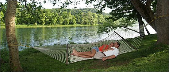 riverfront hammock  Rainbow drive resort on the White River near Mt Home Trout fishing,  no mosquitoes