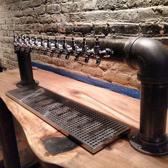 Custom 12 Tap Draft Beer Tower Black Iron Pipe Bar