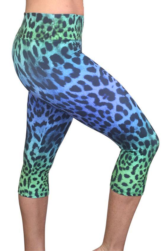 Blue Leopard Capris