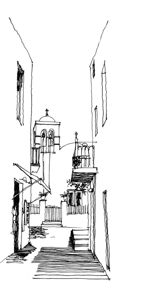 Croquis dessins au stylo and perspective on pinterest for Minimalist house sketch