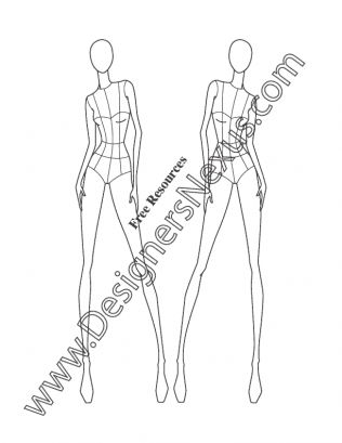 029- female fashion figure template front view