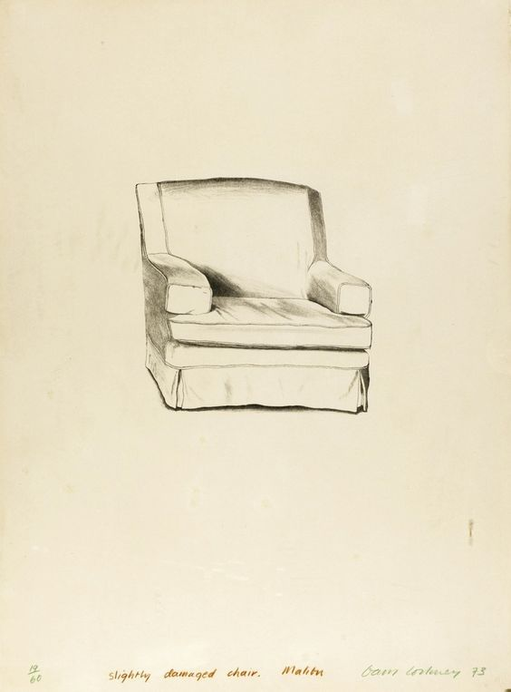 David Hockney Slightly Damaged Chair, Malibu lithograph print
