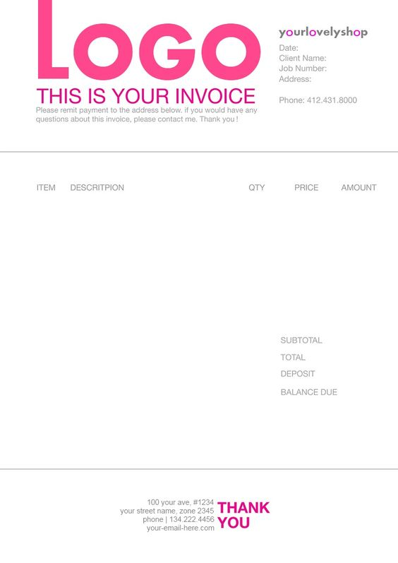 Art Business Software Create your own invoices and receipts for - deposit invoice templates