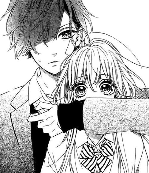 anime boy, anime couple, anime girl, monochrome, manga ...