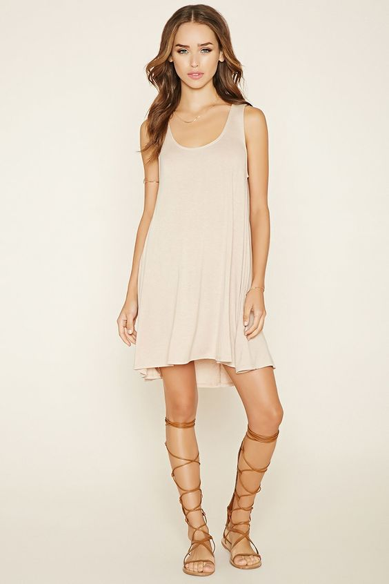 A-Line Mini Dress in Tan / Nude  Forever 21 • short spring ...