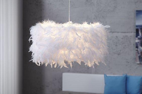 Innovative Design Hängeleuchte PARADISE weiss mit Federn: Amazon.de: Beleuchtung