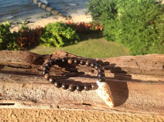 Auger Shell and Wood Bead Beach Bracelet by FlatteryDesigns, $10.00