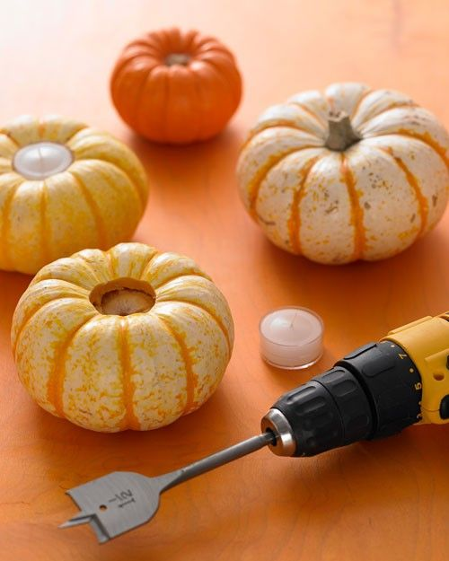 Pumpkin Tealights DIY, so easy!: Votive Holder, Pumpkin Tealight, Mini Pumpkin, Pumpkin Votive, Fall Idea