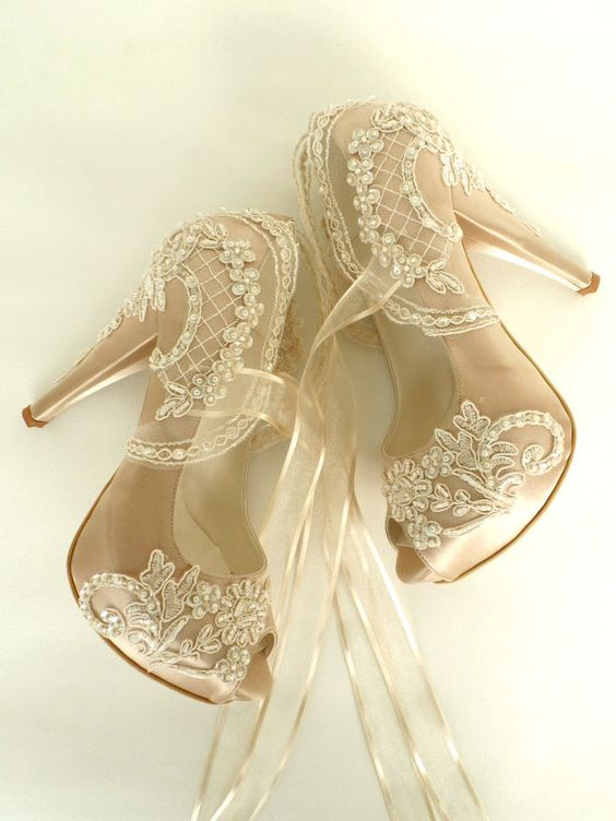 Wedding Shoes - Champagne Embroidered Lace Bridal Shoes: