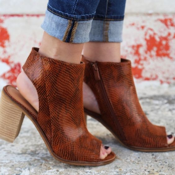 Very volatile cognac booties Size 9 / heel cutout / cognac color / new !! Very hot Shoes Ankle Boots & Booties