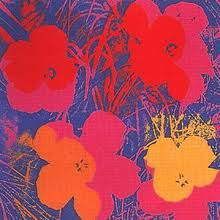 """Abstract painting of Hibiscus by Andy Warhol. This painting is simply called """" Flower """" and was painted in 1964. there are many versions of this painting in different colors. He experimented with many different styles with this series as well."""