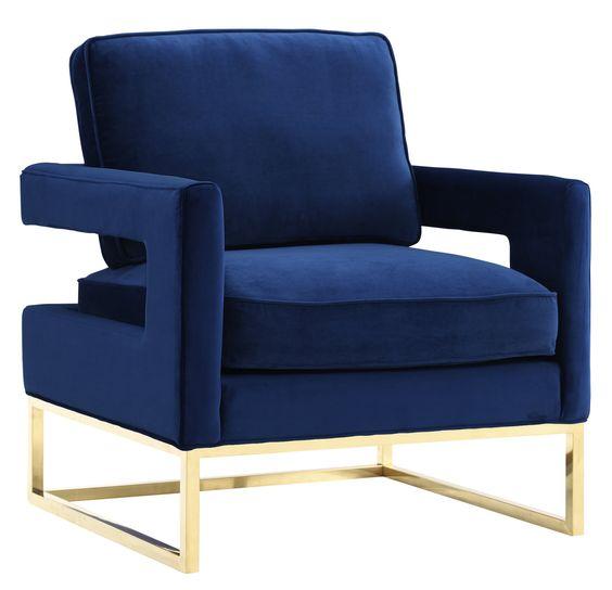 TOV Furniture Modern Avery Navy Velvet Chair