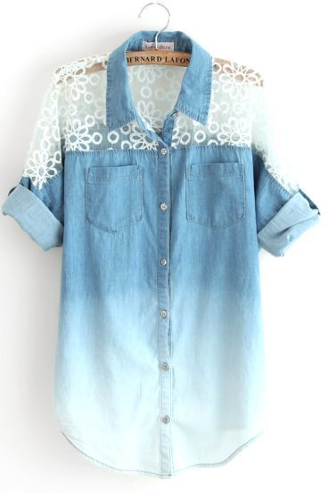 Blue Gradient Batwing Half Sleeve Insert Lace Denim Blouse pictures