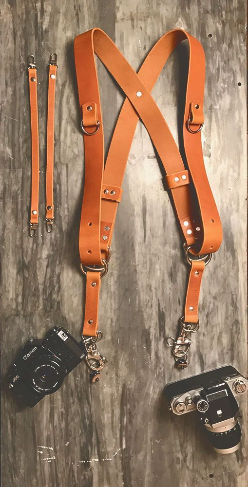Dual Multi Camera Brown Leather Harness Shoulder Strap Made By Hand in England