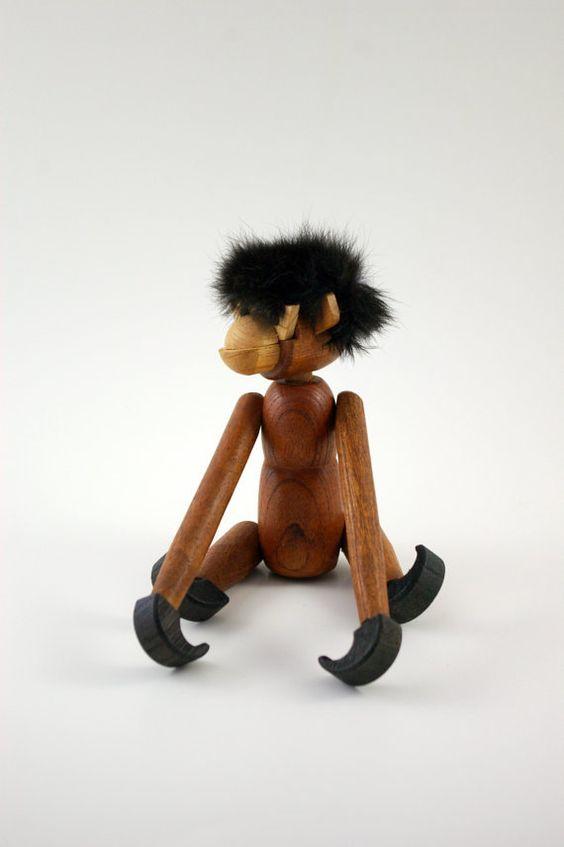 Wooden ZooLine Articulated Monkey Figurine via bitofbutter on Etsy