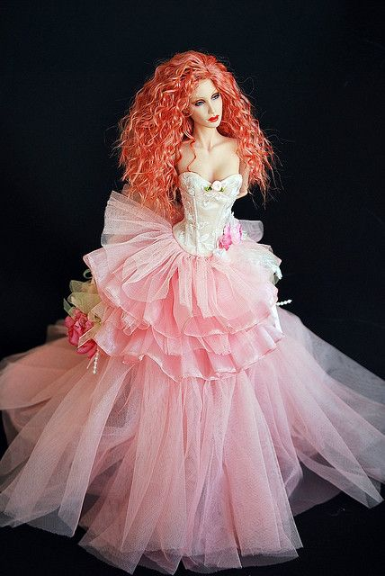 doll with hair to style entrance pink tulle and italian on 9376